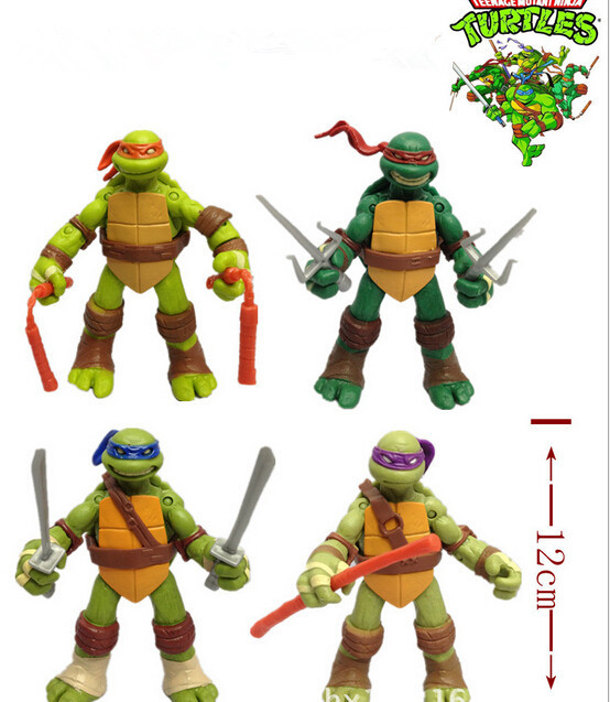 NEW Version Hot Teenage Mutant Ninja Turtles Action Figure 4pcs / Set Kids Toys TMNT Movable Joints 12cm Size 4 Dolls PVC In OPP(China (Mainland))