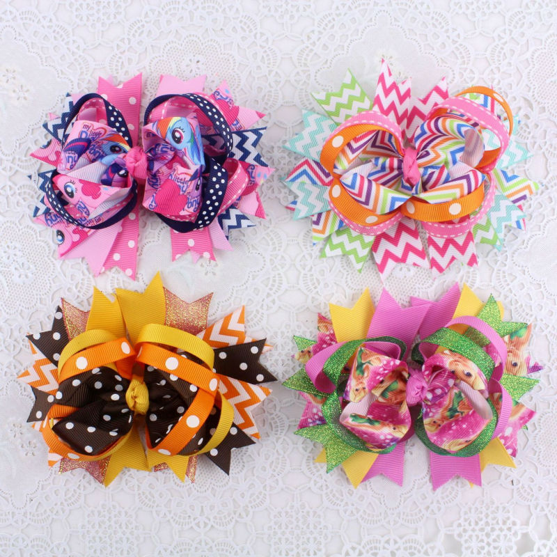 "4pcs baby girl 5"" hairbows clips Boutique hairpins grosgrain ribbon accessories2023-1-4(China (Mainland))"