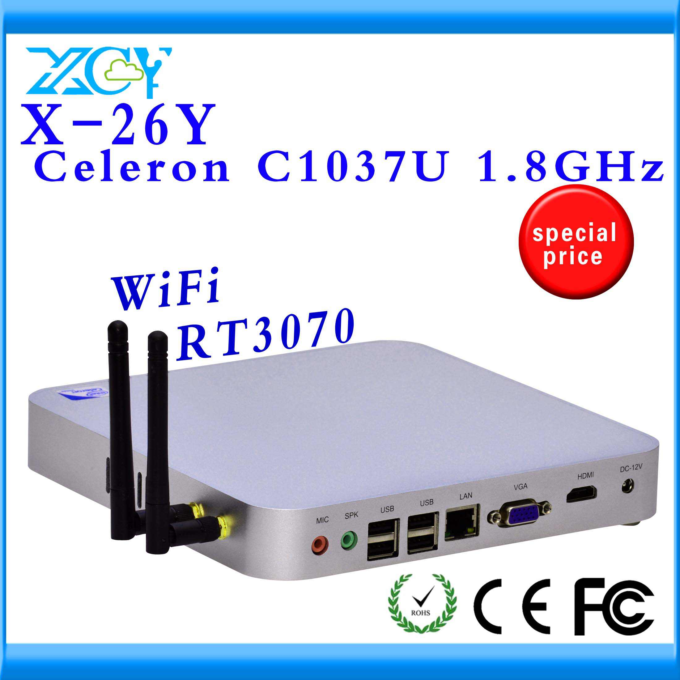 XCY Hot Selling X-26Y C1037U Fanless Computer thin Client support full screen movies,wireless keyboard and touch screen(China (Mainland))