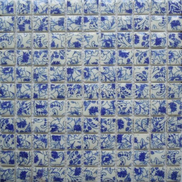 Excellent Blue And White Tile Glossy Porcelain Mosaic Bathroom Tiles Backsplash