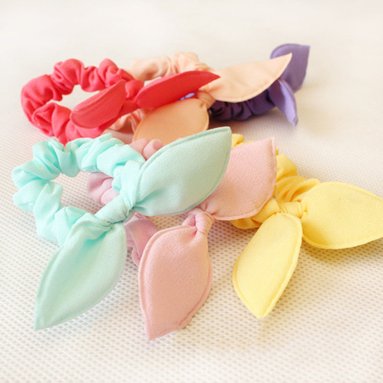 10 Pcs/lot Solid Color New Small Bunny Rabbit Ears Headband Hair Rope Rubber Bands Baby Girls' Kids Cute hair Accessories(China (Mainland))
