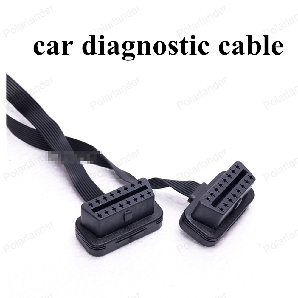 best selling OBD2 16 Pin Flat andThin As Noodle Extension Cable ELM327 Male To Dual Female Y Splitter Elbow 30cm(China (Mainland))