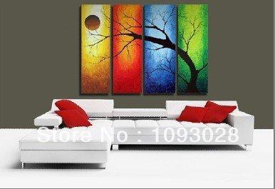 Free Wholesale Museum Handmade Oil Paintings Canvas Art Canvas 4pcs/set Wkh0060 Frame