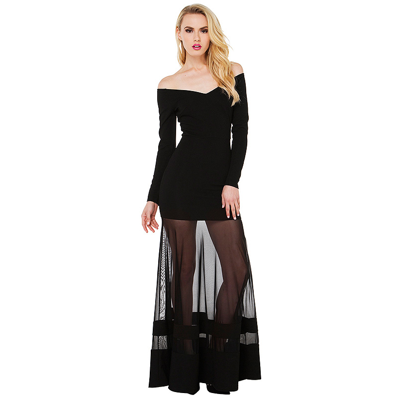 Sexy Women Fashion Little Black Dress 2016 Sexy Casual Vestidos Long Sleeve Bandage Mesh Tulle Patchwork Women Dresses RE737(China (Mainland))