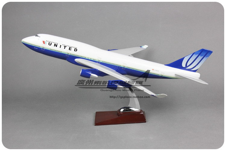 47cm Resin Air American United Airlines Plane Model Boeing 747 B747 400 Airways Aircraft Airplane Model W Stand Toy Gift(China (Mainland))