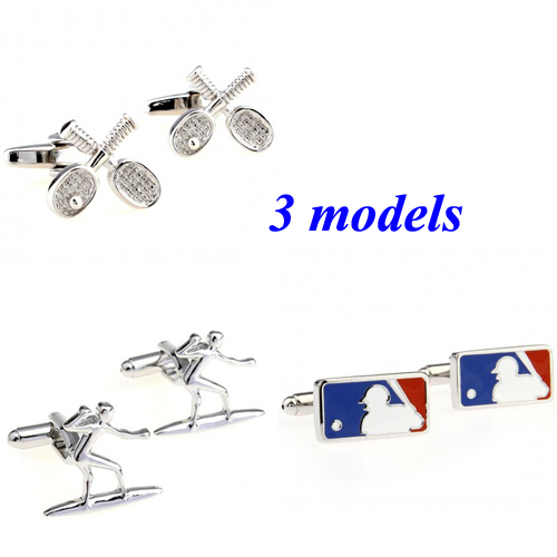 Fashion Tennis Ski Baseball Sports Cufflink Cuff Link 1 Pair Free Shipping Biggest Promotion(China (Mainland))