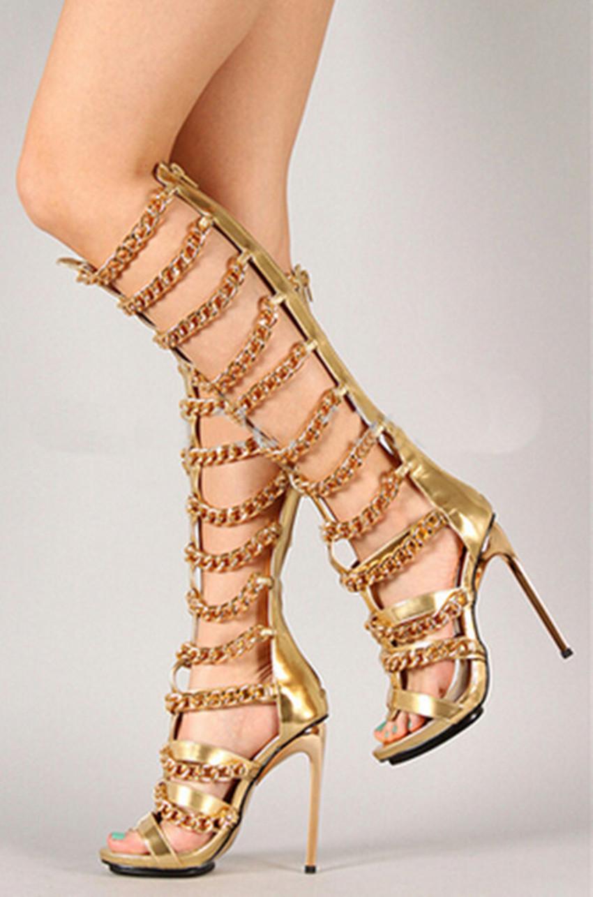 Фотография sandals summer boots gold chains knee high zip sandals boots hot selling shoes women pumps