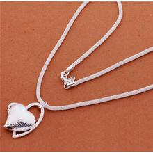Top quality  Silver Heart Pendant Necklace Fashion Jewelry beautiful wedding gift for woman(China (Mainland))