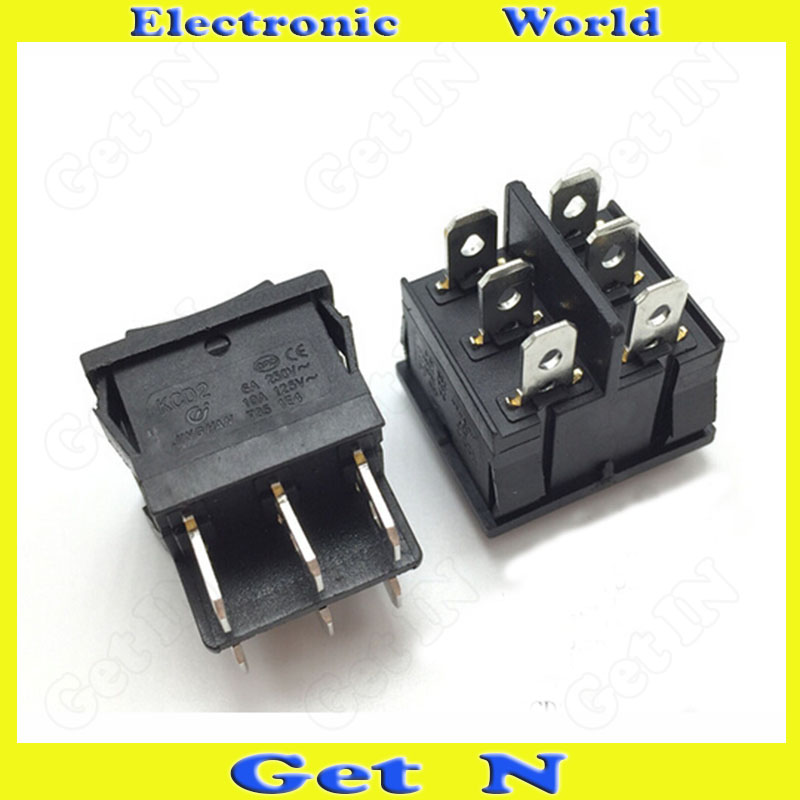 50pcs   KCD2-203 21*25mm Rocker Switch Power Switches Buttons Black Color 6Pins 3Files<br><br>Aliexpress