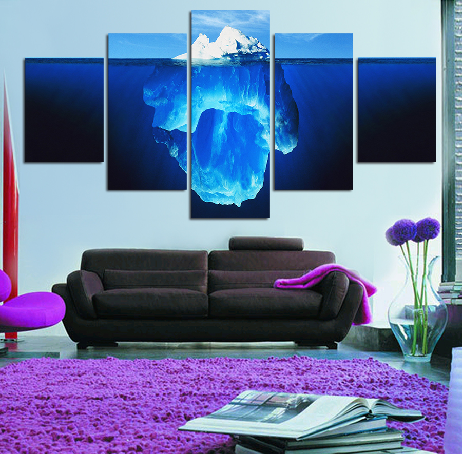 5 Pieces Landscape <font><b>Tip</b></font> Of The Iceberg Painting Canvas Wall Art Picture <font><b>Home</b></font> <font><b>Decoration</b></font> Living Room HD Print Painting Unframed
