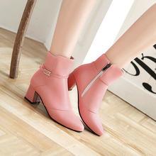 Sıcak Kış Yan Fermuar Rahat Kare Topuk yarım çizmeler Moda Sivri Burun Kadın Ayakkabı Siyah Kırmızı Pembe Beyaz(China)