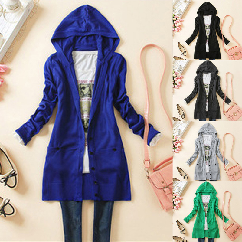 2015 Fashion Women Cardigan Knitted Hooded Sweater Long Sleeve Knitwear Cardigan Coat Outwear Top 5 Colors Free Shipping(China (Mainland))