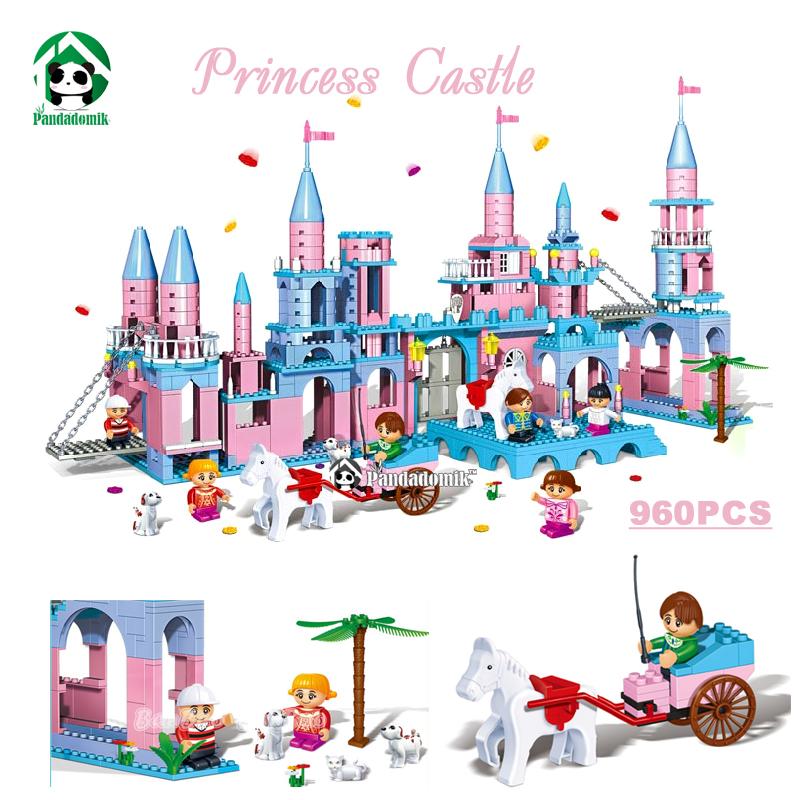 Princess Castle Larger Version 960pcs Building Blocks Set 6 Figures Model Building Bricks Toys for Girls Compatible with lego(China (Mainland))