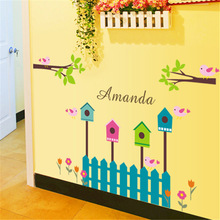 Product Home AY 885 Cartoon Bamboo Fence Lovely Children House Decoration Kindergarten Wall Stickers(China (Mainland))