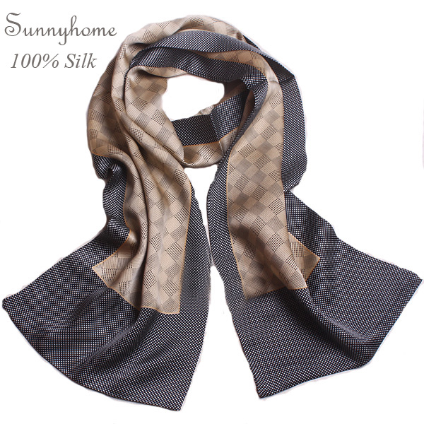 2016 New Muslim Hijab Shawl 100% Pure Silk Gray Plaid Scarves for men Two Side Patchwork Black Wrap High-End Natural Silk Scarfs(China (Mainland))