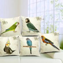 Retro cushion Parrot pillowcase