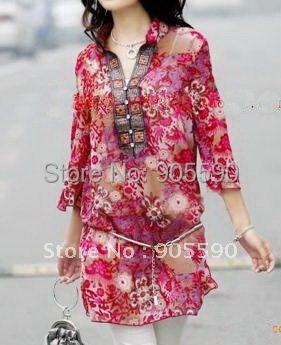 Plus size Spring Sumner Ladies'Dress Bohemian Flower V Collar slim waist chiffon women blouse dress style skirt - discount shop store