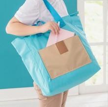 Portable Women Fashion Shopper Daily Hobo Shoulder Travel Storage Kit folding zipper pouch Tote Carrier Bag Handbag(China (Mainland))