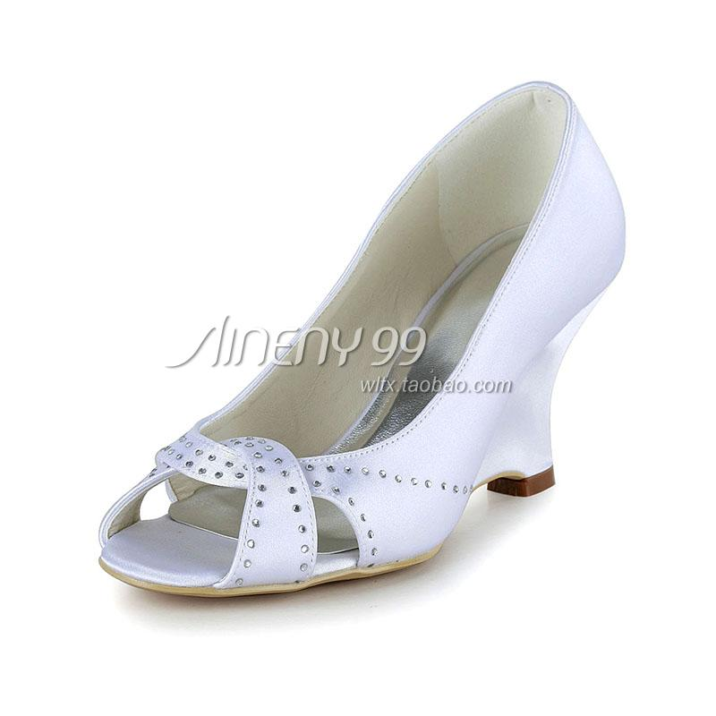 2014 Aineny99 Bride Open Toe Wedding Shoes White Single Shoes High Wedges Womens Shoes Silks