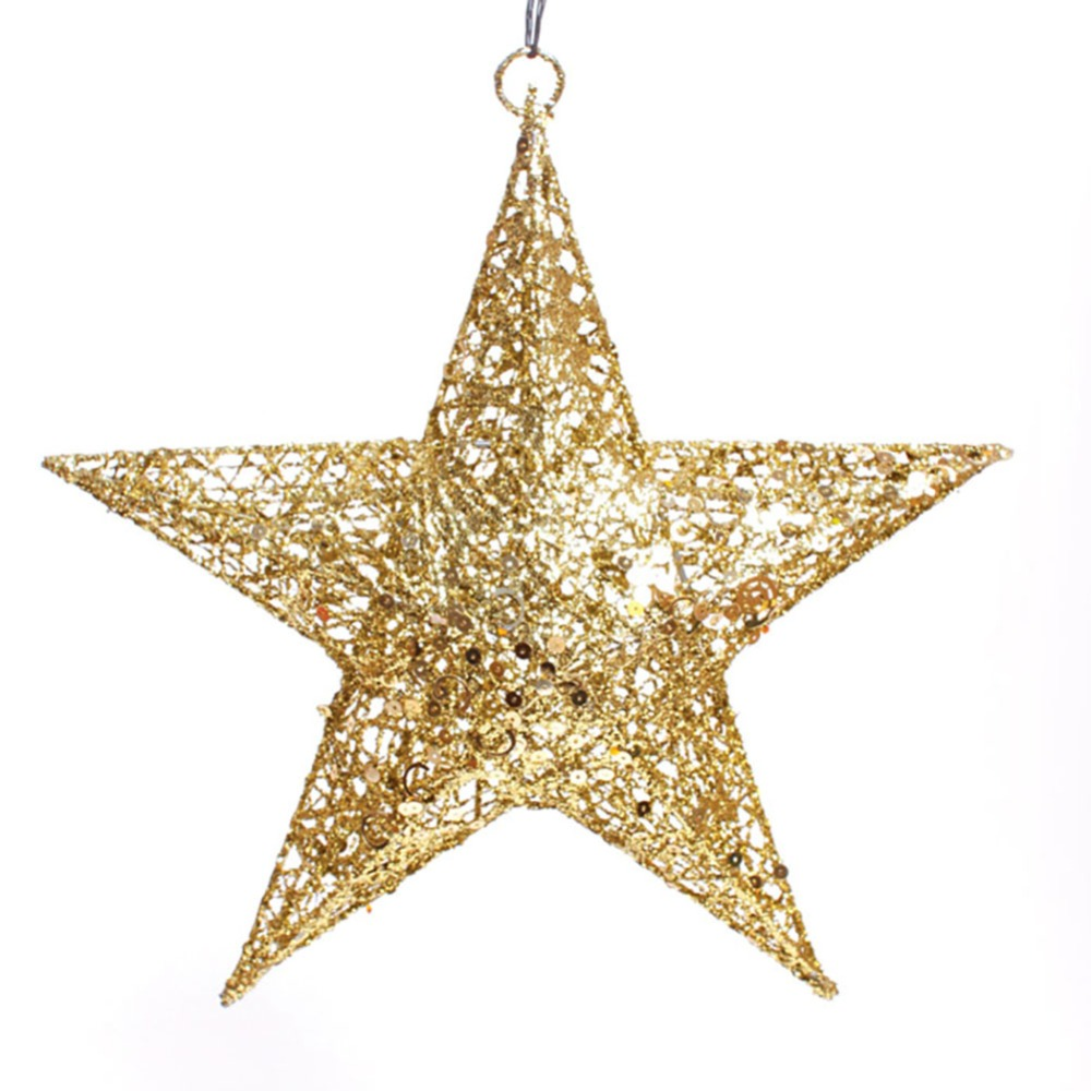 11.8-Inch Red/Golden/Silver Elegant Sparkly Iron Five-pointed Stars Christmas Tree Hanging Ornaments(China (Mainland))