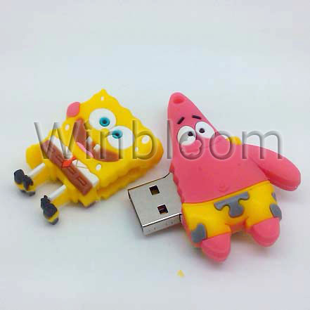 Sponge and Heart USB Flash Drive 4GB 8GB 16GB 32GB Real Capacity FREE Shipping PVC USB Memory Stick PU0135(China (Mainland))