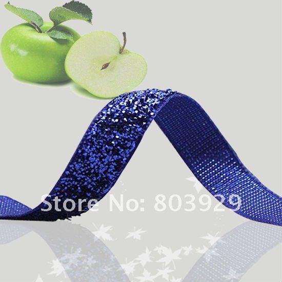 """3/8"""" Glitter Velvet Ribbon Royal Metallic Ribbon Blue Sparkle Ribbon(China (Mainland))"""