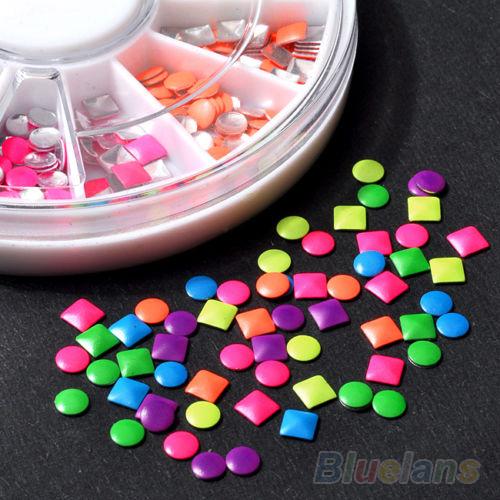 Гаджет   1000pcs 6 Colors Stud Nail Art 3D DIY Design Decoration Stickers Metallic Studs  None Красота и здоровье