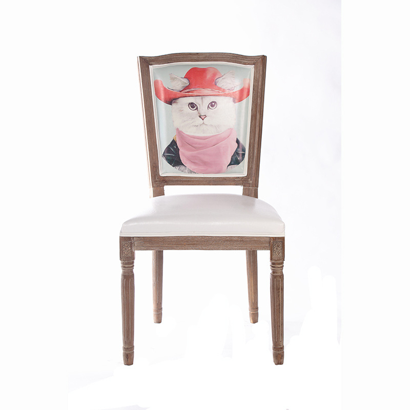 European Modern Antique Style Arc-shaped Soild Wooden Retro Hotel Cafe Leather Dining Chair Wood Furniture(China (Mainland))