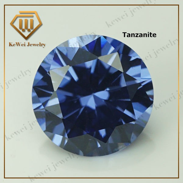 Medium Tanzanite Cubic Zirconia Stone 5.25mm-8mm AAAAA Synthetic Gemstone Round Shape Cubic Zirconia Stone(China (Mainland))