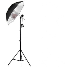 Photography Studio Lighting Kits 110V Single Lamp Socket Holder+Black Silver Umbrella+Light Stand Photo Studio Set