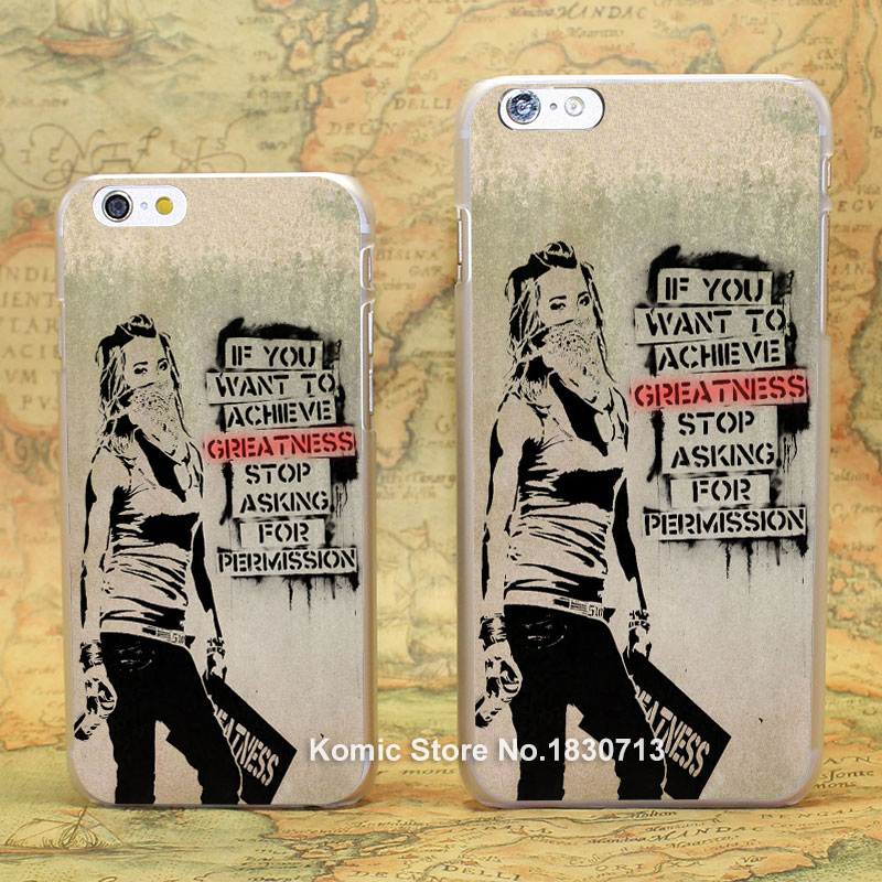 Graffiti slogan. Pattern hard transparent clear Cover Case for iPhone 4 4s 5 5s 5c 6 6s 6 Plus(China (Mainland))