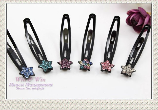 FREE SHIPPING blended color 6.5 cm in length black alloy with crystals star cute lady  BB hairgrips H0049
