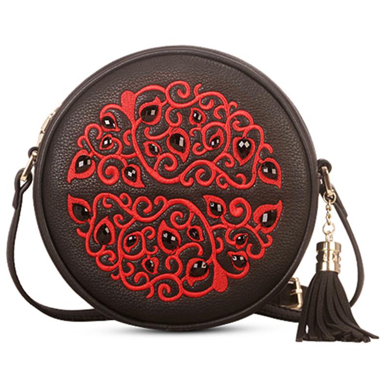Фотография 2016 New Chinese Style Women Handbags Girls Embroidery Diamonds Handbag Crossbody Messenger Shoulder Bag Satchel Bags Circular