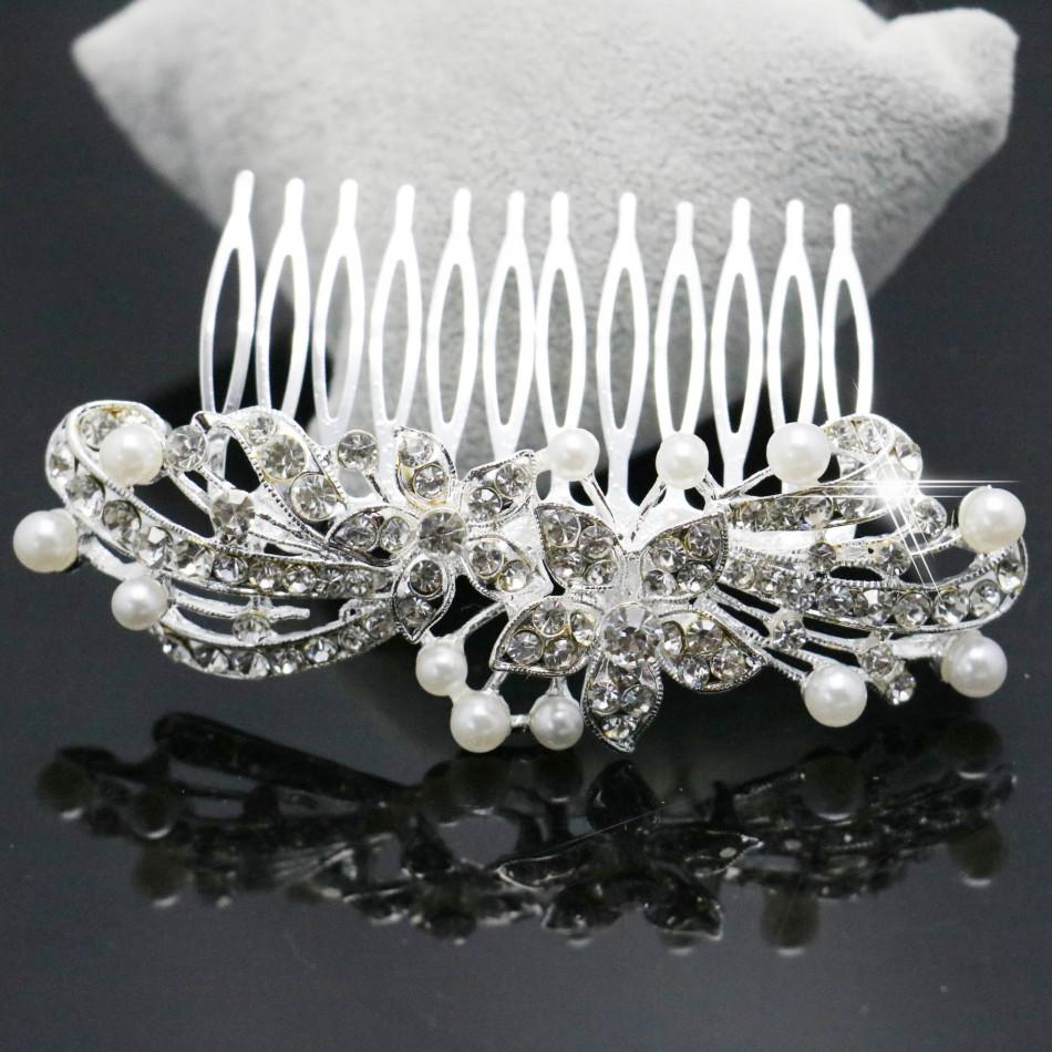 Trendy Hairwear Ladies Silver Rhinestone Bridal Wedding Flower Pearls Crystal Chic Headband Hair Clip Comb Jewelry 96*56cm(China (Mainland))