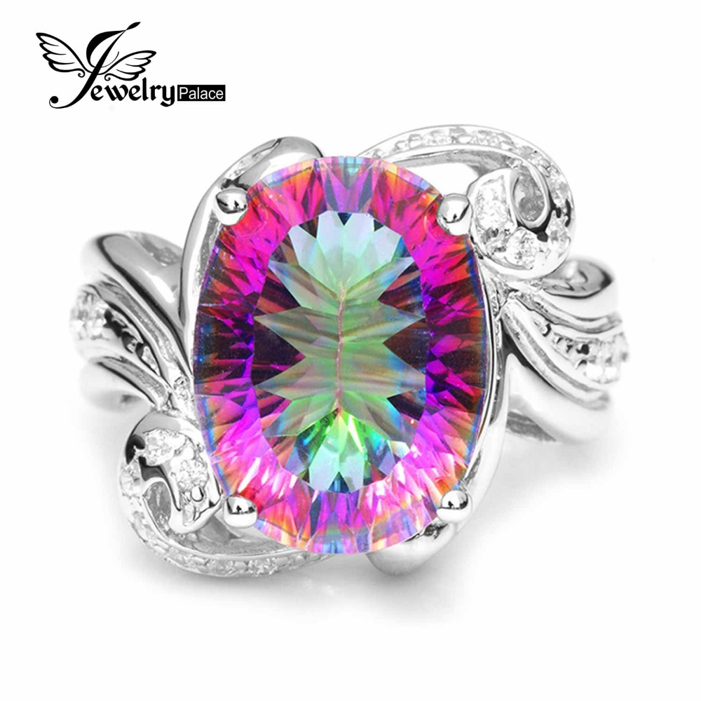 Luxury 11ct Genuine Rainbow Fire Mystic Gem Stone Topaz Ring Pure Solid 925 Sterling Silver Fine Jewelry Vintage Promotion New(China (Mainland))