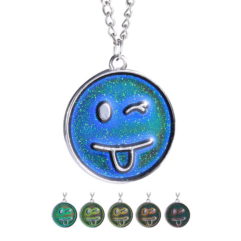 Silver Women Mood Necklaces New Vintage Smile Face Pendant Necklaces Sensitive Liquid Temperature Change Color Fashion Jewelry(China (Mainland))