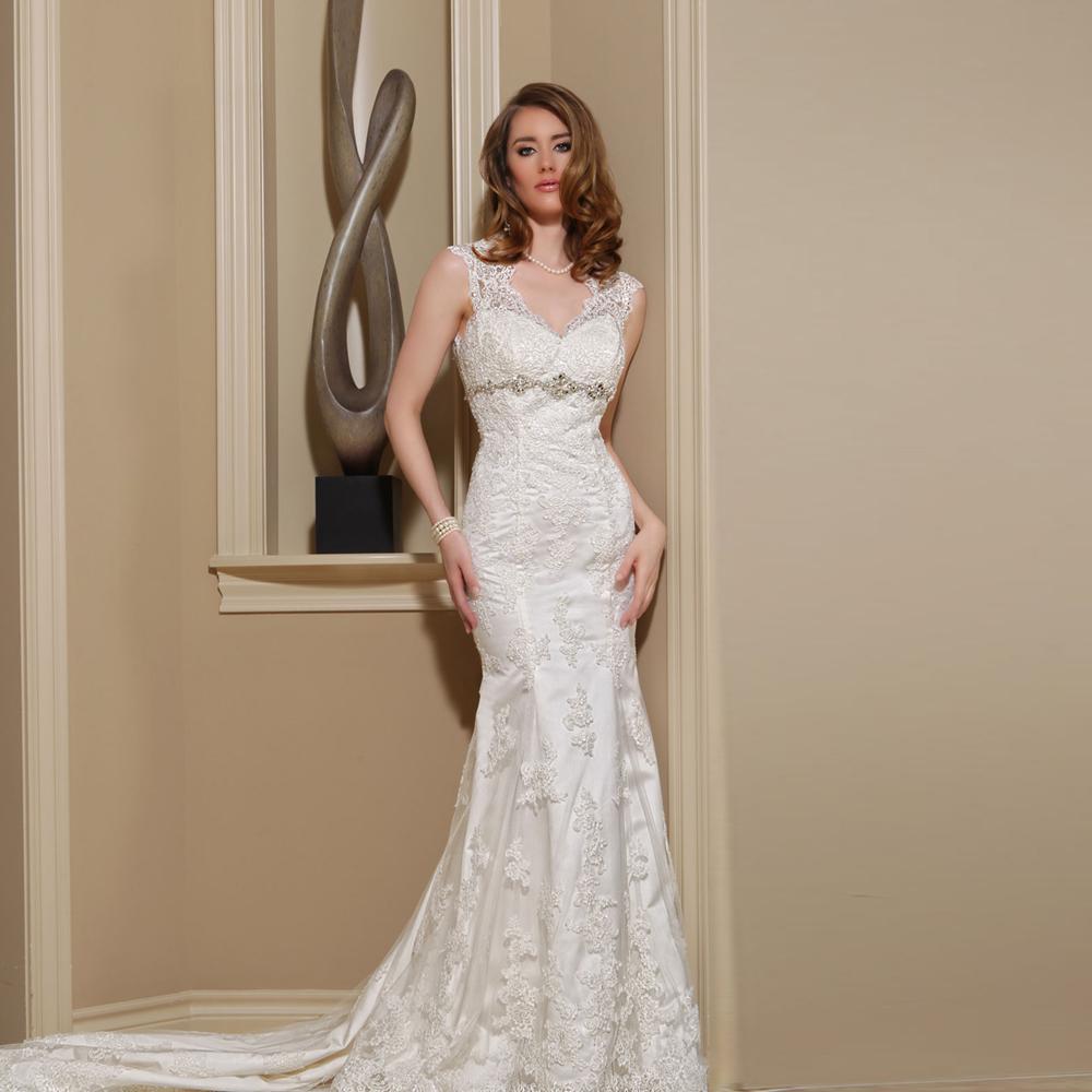 new design attractive beaded appliques wedding dressspaghetti good quality lace bridal gown mermaid robe de mariage