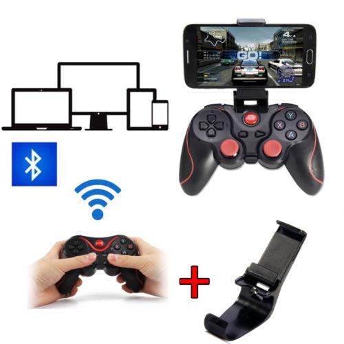 Fashion Bluetooth T3 Joystick Game Gamepad Controller Joystiker + Bracket Mount For Android Smart Phone TV box PC TV games(Hong Kong)