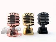 Rose Golden/Cinnamon/Black Cologne Vintage Microphone Decoration Solid Oil Car Fragrance Air Freshener Fit All Car 001(China (Mainland))