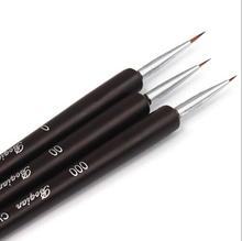 3 PCS Acrylic French Nail Art Design Painting & Dotting Pen Polish Brushes Black(China (Mainland))