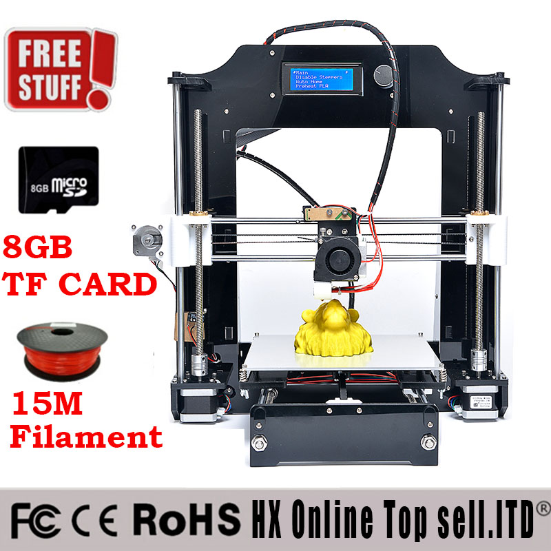 High Quality Precision Reprap Prusa i3 DIY 3d Printer kit with 2 Rolls Filament 8GB SD card and LCD for Free 2015 Upgraded <br>