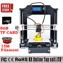 High Quality Precision Reprap Prusa i3 DIY 3d Printer kit with 2 Rolls Filament 8GB SD card and LCD for Free 2015 Upgraded