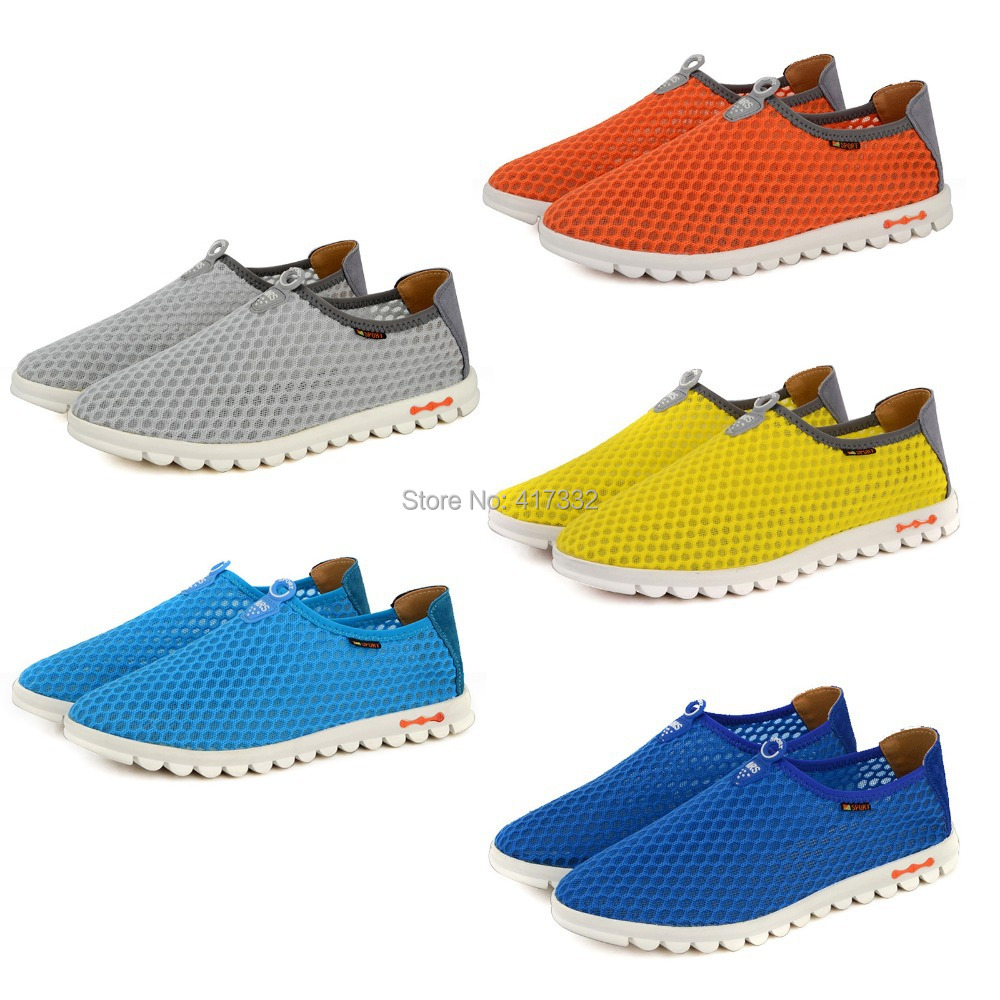 New Mens Sandal Sneaker Summer Hollow Cut Out Design Breathable Mesh Flats Shoe Slip on Plus Size Wholesale Free Shipping(China (Mainland))