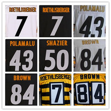 Men's 7 Ben Roethlisberger 12 Terry Bradshaw 43 Troy Polamalu 50 Ryan Shazier 84 Antonio Brown 36 Jerome Bettis elite jerseys(China (Mainland))