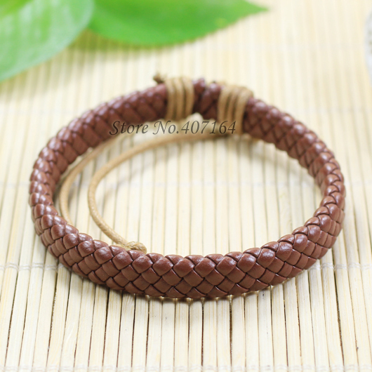 SF149- Bangle Genuine Leather Bracelet Braided Rope Fashion Jewelry Unisex Men&Women - SunFlower Trade Co.,Ltd store