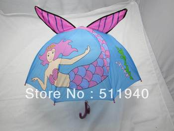 Free Shipping !! Lovely pink color  mermaid pattern kids cartoon umbrella, with whistle