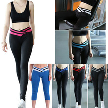 hot sale women sport pant exercise workout legging fastion high waist cross Stripe Leggings Ladies for running 6 colors 4 size