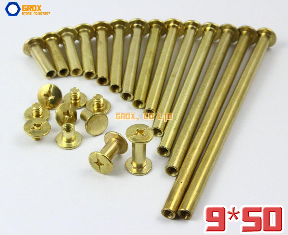 30 Pieces 9 x 50mm Brass Plated Chicago Screw Stud Rivet Belt Strap Fastener (5mm Shank Diameter)(China (Mainland))