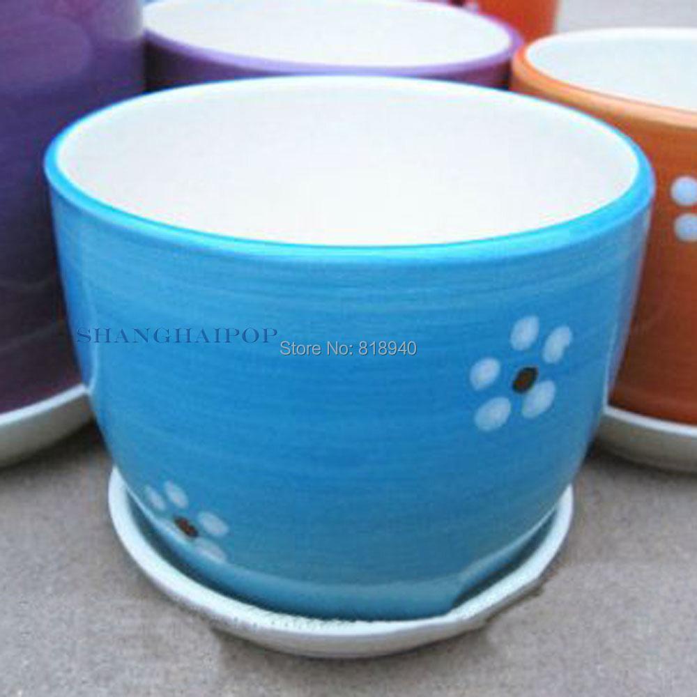 Mini Ceramic Porcelain Flower Pot Round Garden Plant Planter Home Decor Green with Tray(China (Mainland))