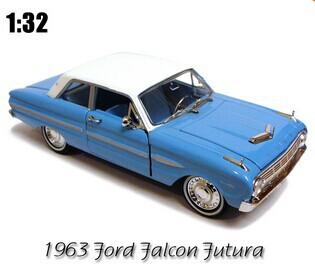 1:32 RARE vintage Ford car model Ford falcon 1963 FORD futura model car classic alloy car model sky blue(China (Mainland))